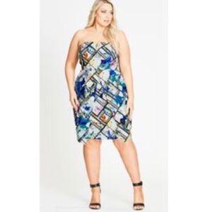 City Chic Womens Dress Plus Size M / 18 Pink Blue